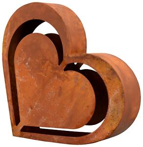 XL-Herz-Edelrost-Skulptur-25-cm-Deko-Garten-Terrasse-Balkon