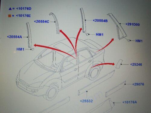 Paire de NEUF origine Ford Focus Mk1 Rs B Pilier L et R externe TRIM Bandes NOS