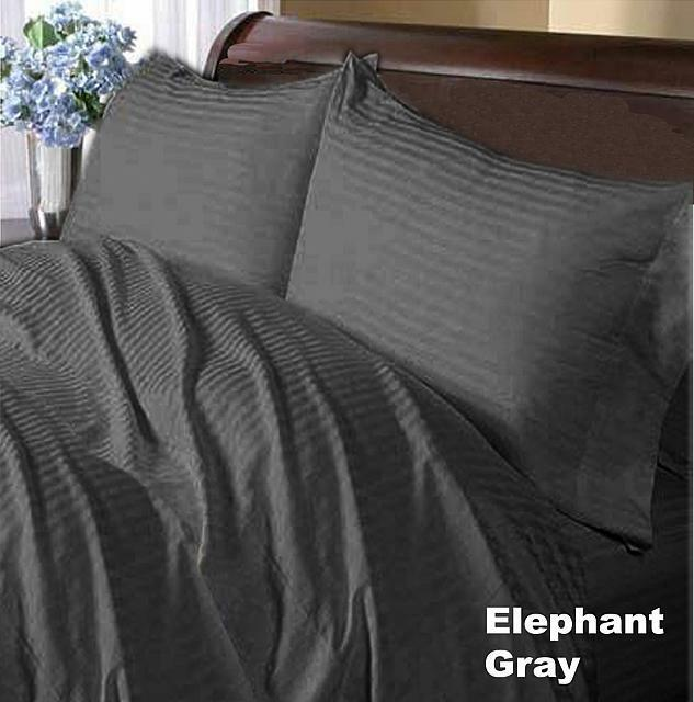 ALL SIZE 1000 TC ALL BEDDING ITEM-DONNA,FITTED,FLAT EGYPTIAN COTTON GRAY STRIPE