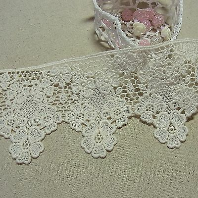 1yd Antique ST scalloped Embroidery Cotton Fabric Crochet Lace Trim7.8cm doll