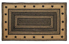 New Primitive Country Colonial Kitchen Square LARGE BRAIDED STAR RUG Black & Tan