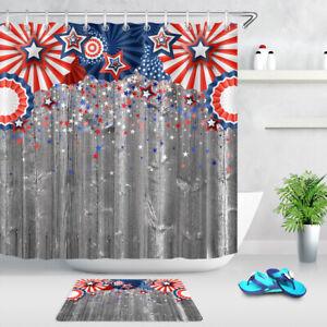 Wood Board Red Farm Truck Sunflowers Bathroom Shower Curtain Waterproof Fabric