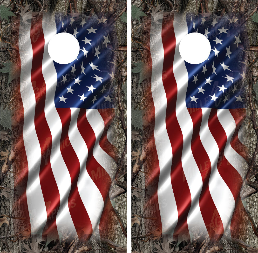 American Flag Camo  Oak Ambush  Border Cornhole Board Wraps Decals Graphics