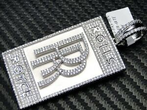 Rolls royce pendant 925 sterling silver white gold finish simulated image is loading rolls royce pendant 925 sterling silver white gold aloadofball Gallery