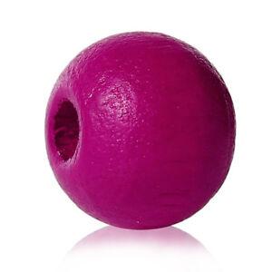 500-Stueck-Holzperlen-Rund-Pink-8-mm-Perlen-Schnullerketten-Basteln-Holz-Loch-Diy