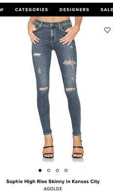 NWT Agolde Sophie High Rise Skinny Jeans Kansas City Size 27 Sold Out!