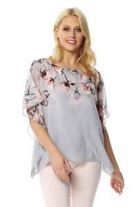 0c04bdb2016d96 Roman Originals Women Floral Chiffon Overlay Top | eBay