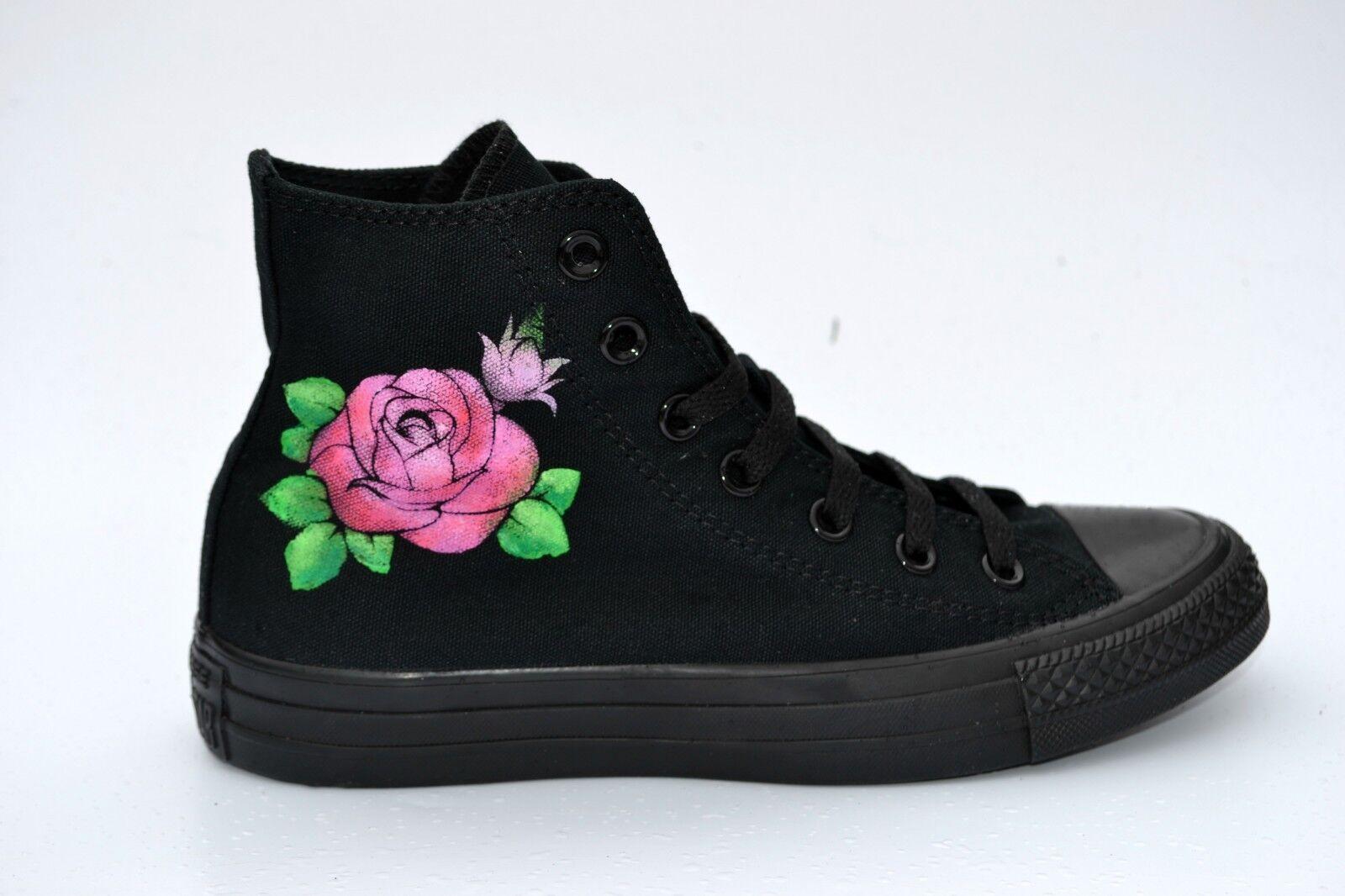 Rose Tattoo stile Converse-dipinti a mano ordinazione su ordinazione mano 5ab48e