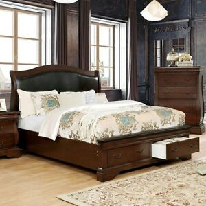 Details about Transitional Cal King Size Bed Brown Cherry Finish Solid Wood  Bedroom Furniture