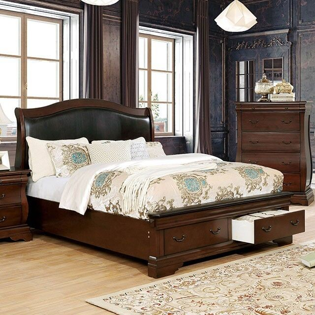 Transitional Cal King Size Bed Brown Cherry Finish Solid Wood Bedroom  Furniture