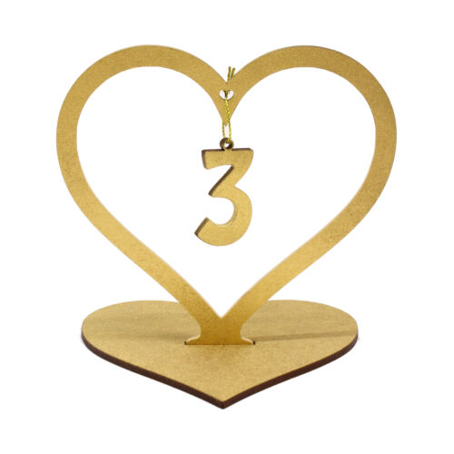 Large MDF wood heart Hanging Table Numbers Wedding Party natural silver gold D2