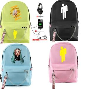 Billie Eilish School Shoulder Bags Kids Backpack Travel