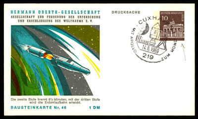 Berlin Privat-ga 1969 Weltraum Space Bausteinlarte 46 Hog Hermann Oberth Ep47 Erfrischend Und Wohltuend FüR Die Augen