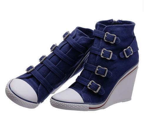 Womens Denim Jeans Sneaker Belt Buckle Ankle Boots Boots Boots Retro Wedge Heel shoes TOPSALE e403f2