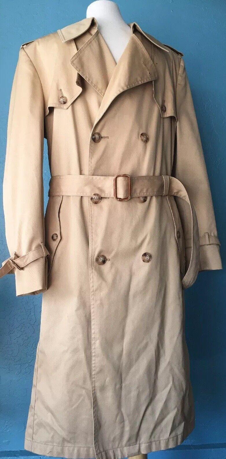 Christian Dior Beige Khaki Men's Double Breasted Long Trench Coat 40R - EU 50