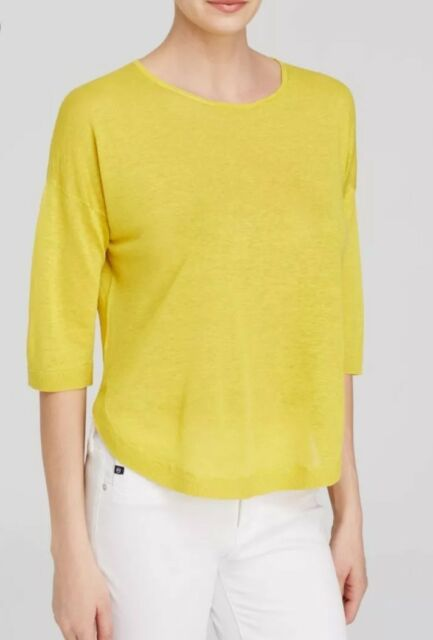 8cf8f8c9b4 $235 Theory Women's Beylor C Sag Harbor Yellow Linen Hi Lo Sweater Size S