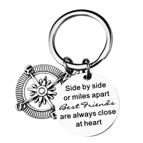 "/""Side by Side Or Miles Apart Best Friends Close at Heart/"" Edelstahl Schlüssel"