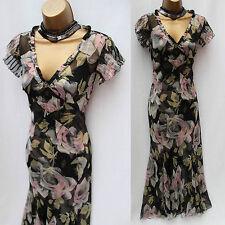 KAREN MILLEN Vintage Black Grey Rose Print Silk Cocktail Maxi Long Dress 8 UK
