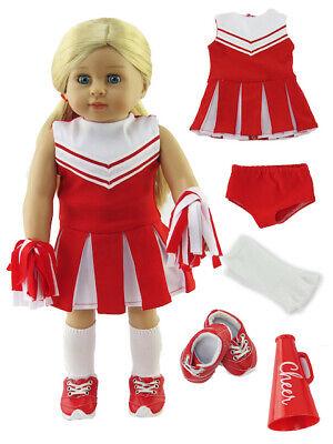 "Red Cheerleader Dress Shoes Socks Pom Poms Megaphone Fit 18/"" American Girl Dolls"