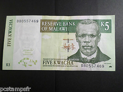Ticket 5 Five Kwacha 2004 French Version Bank Note Flight Tracker Malawi