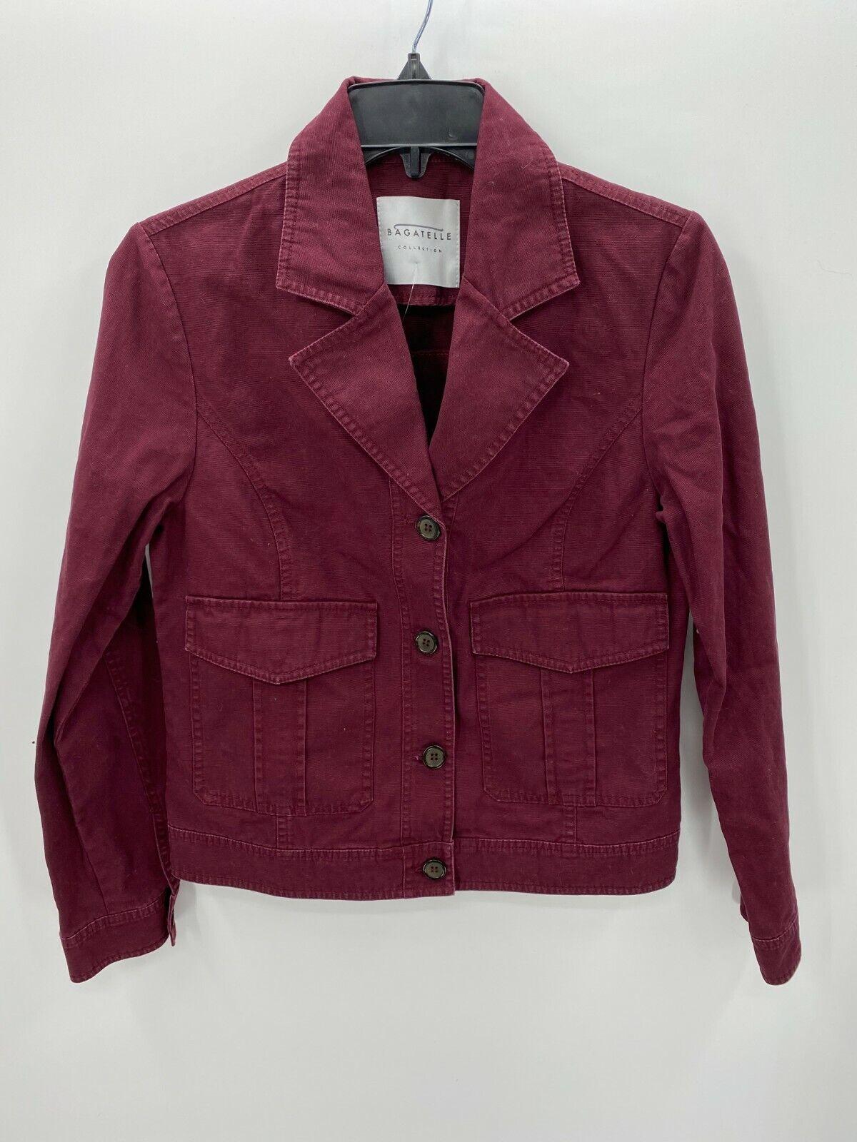 Bagatelle Collection Womens Medium Maroon Denim Jacket Coat Button Up