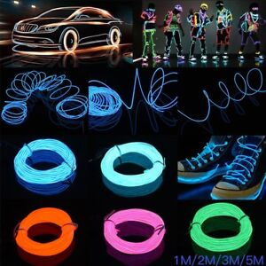 Neon LED Light Glow EL Wire String Strip Rope Tube Decor Car Party+Controller 5M