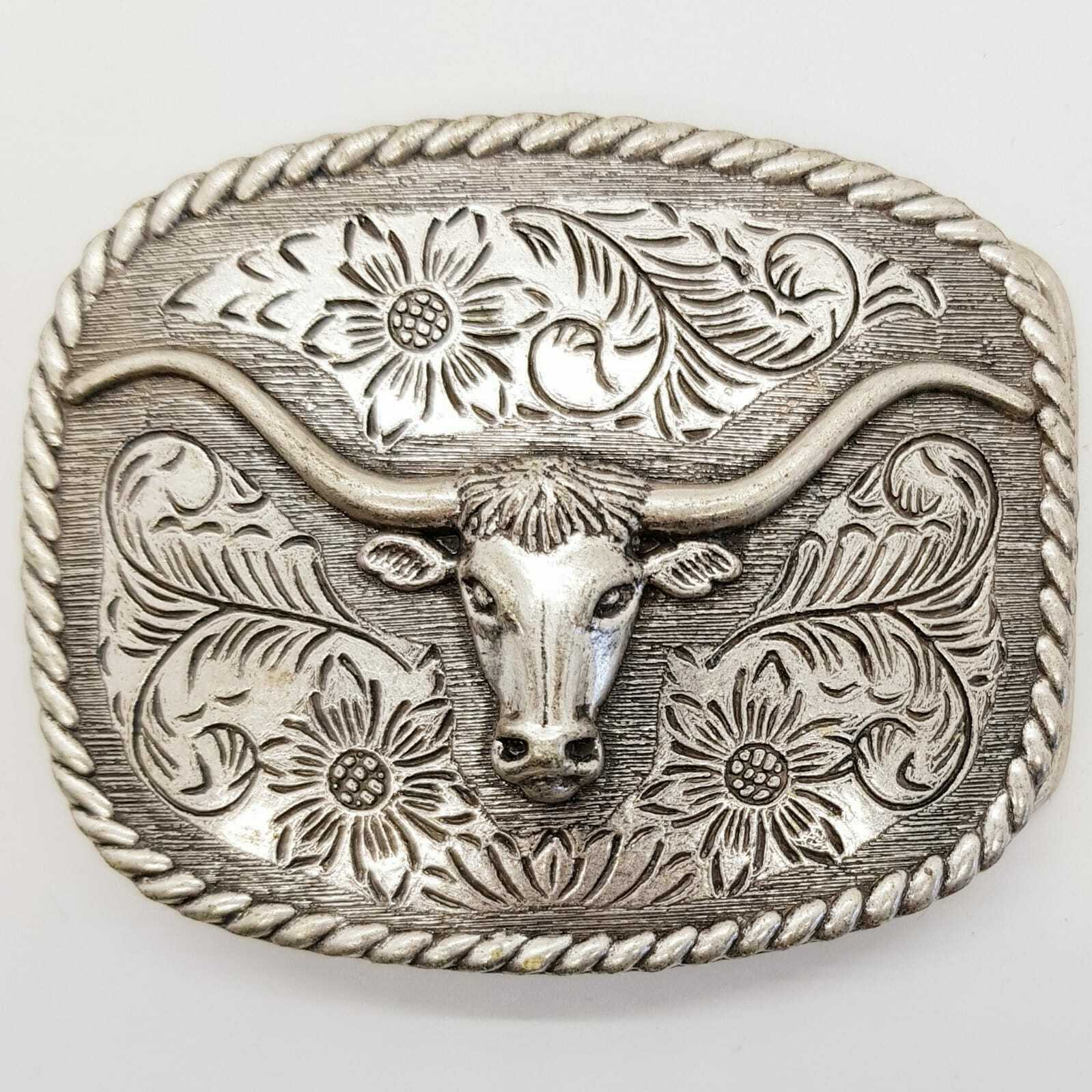 Longhorn Western Belt Buckle USA Cowboy Rodeo Bull Head Ox Texas Biker chrome