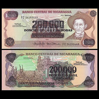 NICARAGUA 200,000 ON 1000 CORDOBAS P 162 UNC