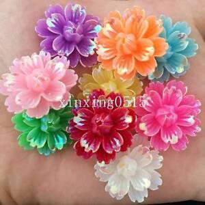 DIY 30pcs mix 25mm AB Resin 3d flower Flatback Rhinestone Wedding buttons crafts