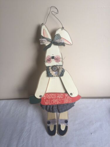 Brand New Wooden Country Cottage Style Easter Bunny Wall Hanging Decor