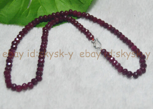 """AA 4x6mm NATURAL Ruby FACETED Rondelle Beads Necklaces 18/"""" Silver Clasp"""