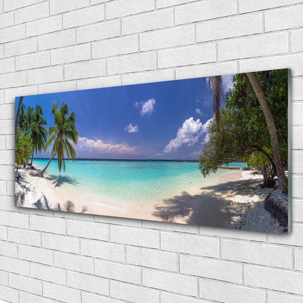 Impression sur verre Image tableaux 125x50 Paysage Mer Plage Palmiers
