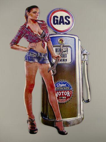 Tankstelle Pin Up Zapfsäule GAS Benzin Schild 66cm