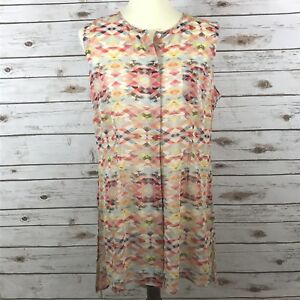 CAbi-Women-039-s-Size-Medium-Aztec-Print-Avery-Tunic-Sheer-Sleeveless-Top