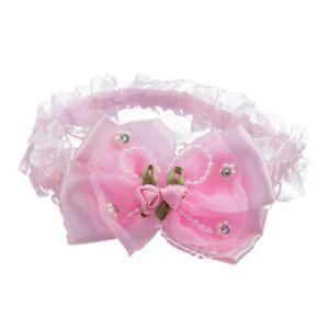 2X-Baby-Saeugling-Maedchen-Spitze-Stirnband-Haar-Schleife-mit-Perlen-und-RoJ1A4