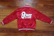David Bowie red satin bomber jacket top size SMALL lightning bolt blazer shirt