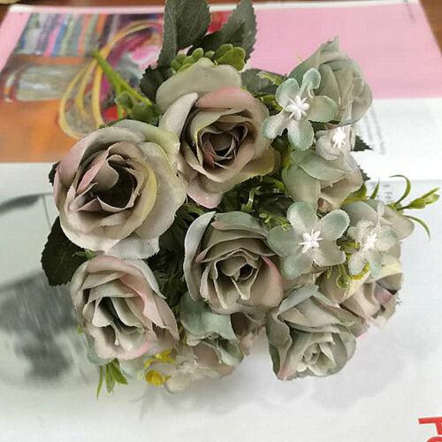 Artificial Flowers Plants Fake Silk Roses 5 Heads Wedding Bouquet Home Decor
