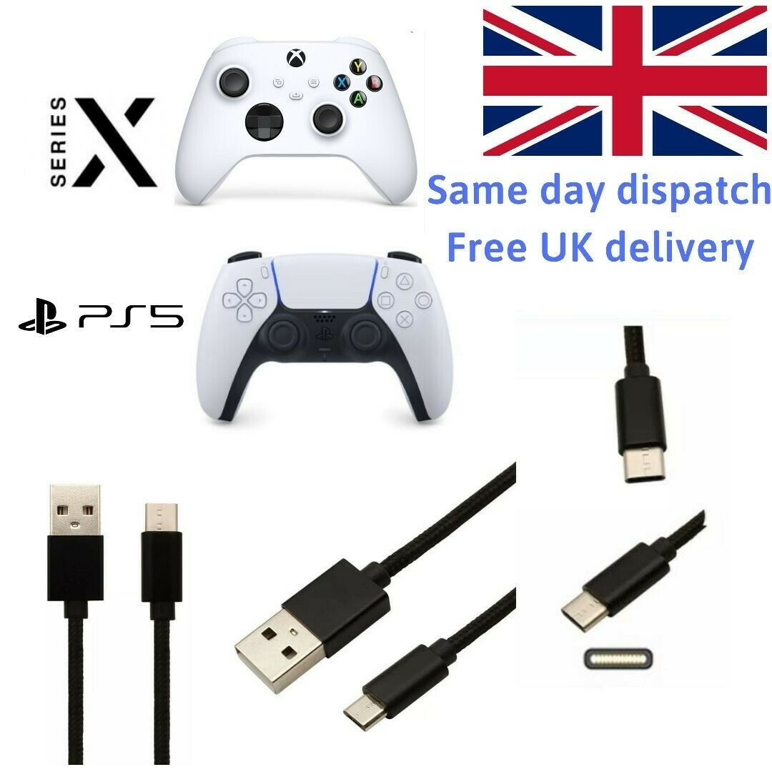 3M For Xbox Series X Controller Black Charger Cable Type C USB-C Charging Lead