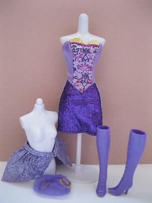 Barbie-Viveca-Doll 3-Three-Musketeers-Skirt/Dress and Boots~ gold/purple clothes
