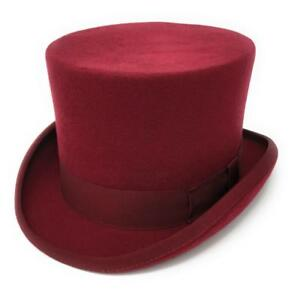 5a0650e3159d19 Image is loading Maroon-Top-Hat-Premium-Wool-Felt-Lined