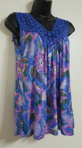 New EX Deben*ams Blue Mix Floral Print Lace Sleeveless Vest Blouse Top Size S-XL