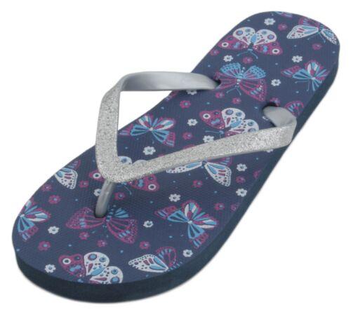Sandrocks Girls Butterfly Print Glitter Strap Flip Flop