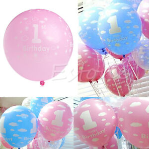 20 100pcs baby first 1st birthday ballons boy girl printed for Number 1 decorations