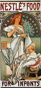 Cotton-Canvas-Alphonse-Mucha-Vintage-Art-Nouveau-Deco-Nestles-Infants-Old-Print