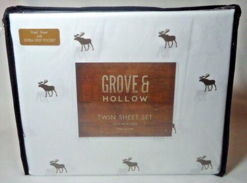 Grove /& Hollow Moose Twin Microfiber X-Deep Pockets Sheet Set