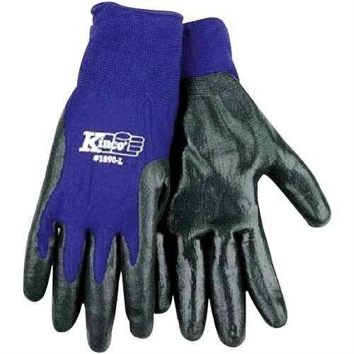 Kinco 035117189034 Knit Nylon Grip Work Gloves Nitrile Palm,Large,BlueSinglePair