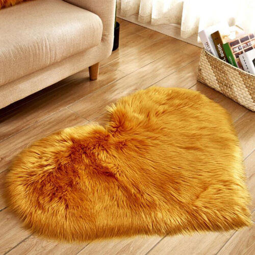 Shaggy Heart Printed Carpet Mat Rugs Soft Fake Faux Fur Home Bedroom Floor Mats