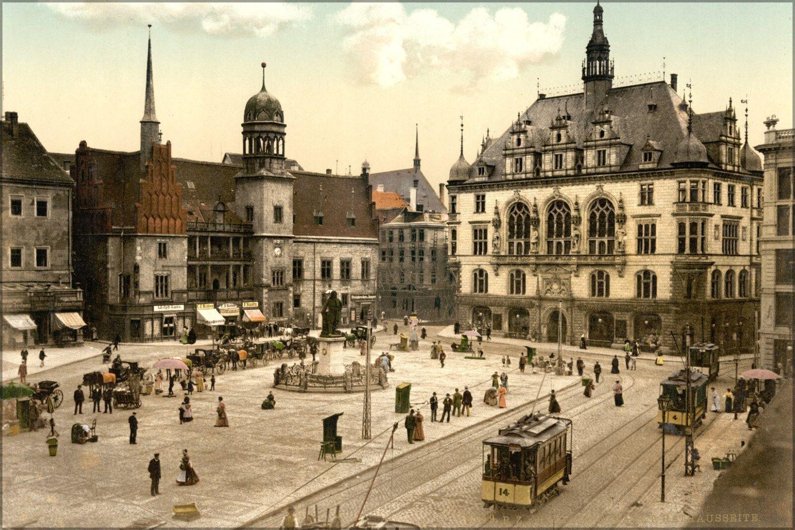 Poster, Many Größes; Market Place Hotel De Ville, Halle, German Saxony, Germany 1
