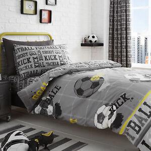 Bedlam-FOOTBALL-Children-039-s-Kids-Duvet-Cover-Set-Bedding-amp-Curtains