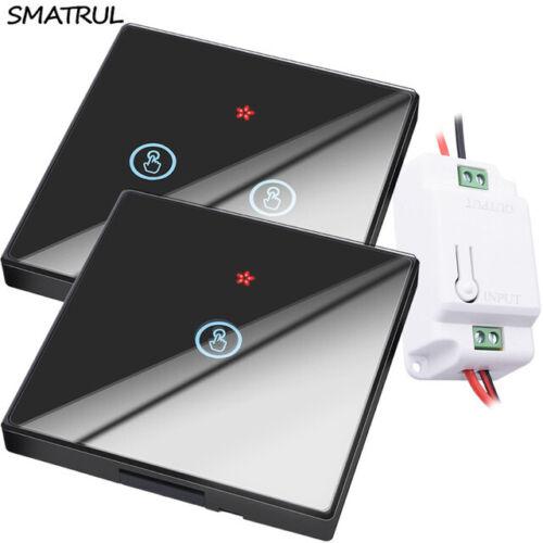 Interrupteur Smart Télécommande Touch wifi 1 2 3 vitesses Mur Verre Noir Blanc